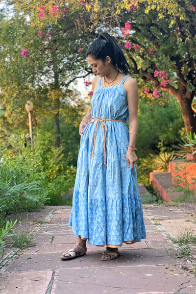Wray Crafted Zuri Reversible Maxi Dress in Blue & Peach