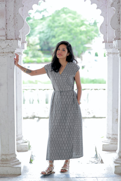 Wray Crafted Uma Wrap Dress in Grey, available on ZERRIN