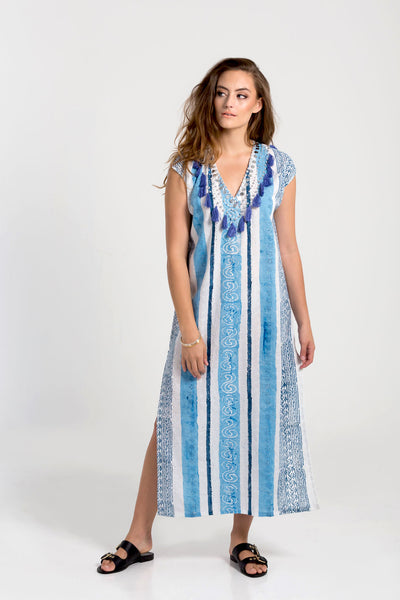 Blue Legian block printed kaftan from Baliza, available at ZERRIN