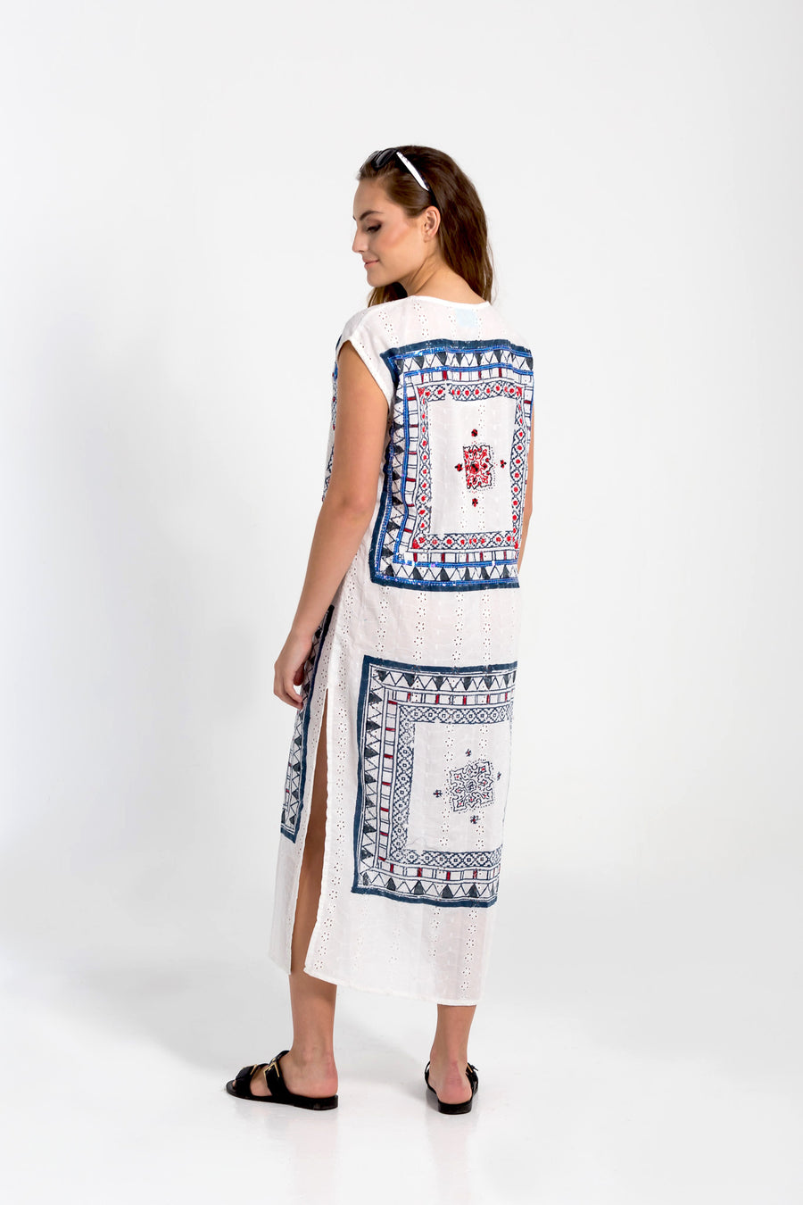Block printed Legian beach kaftan from Baliza, available at ZERRIN