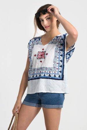 Block printed embellished Legian top from Baliza, available at ZERRIN