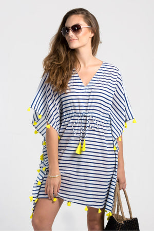 Striped tassle tie kaftan from Baliza, available at ZERRIN