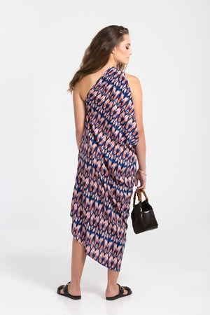 One shoulder printed Michelle silk dress by Baliza, available at ZERRIN