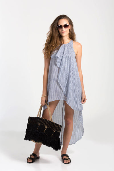 Striped frill Chantik beach dress from Baliza, available at ZERRIN