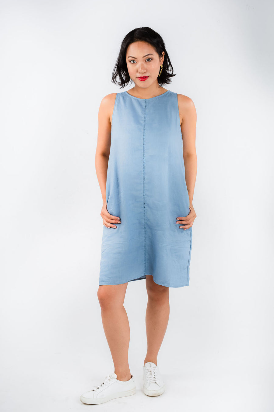 Model wears Zhai Blue Linen A-Line dress, available on sustainable fashion store ZERRIN