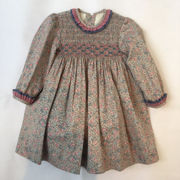 fe518efda551 Princess Charlotte smock dress in pink and blue with long sleeves