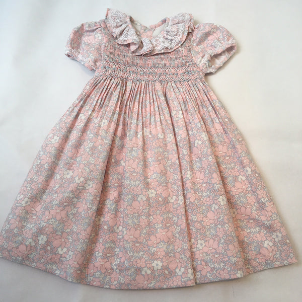 e6db84e5d2ea Princess Charlotte smock dress with pink and blue flowers and lace details