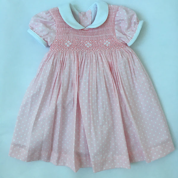 08e28edeb7cd Princess Charlotte smock dress in pink with white dots
