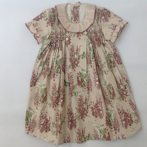90f474f405cc Princess Charlotte smock dress in beige with pink flowers