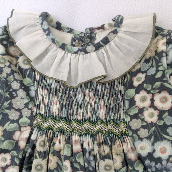 28e2e792a800 Princess Charlotte smock dress in green with flowers - Traditional ...