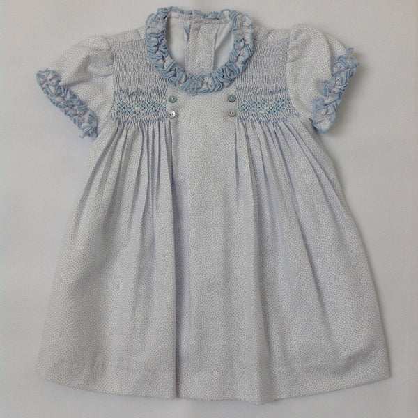 9f73c35c3d8c Princess Charlotte smock dress with blue drops - Traditional Spanish baby  clothes – Mibebe UK