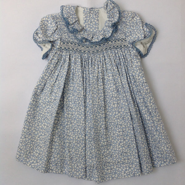 3979cb6b86f6 Princess Charlotte smock dress in blue with white leaves