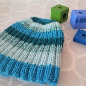 Blue and Green Striped Handknit Baby Beanie Cashmere Wool