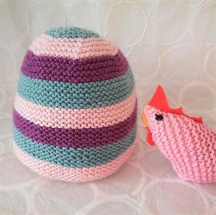 Newborn/Preterm (Premie) Baby Hat Handknit in Pure Wool Striped Pink Mint and Purple Baby Beanie
