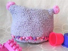 childs handknit fluffy warm purple pink pompom hat
