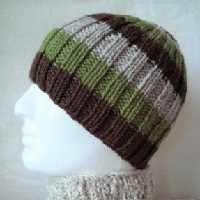 SAM Handknit Striped Ribbed Beanie for Men, Women and Teens in Brown, Green and Beige Pure Wool
