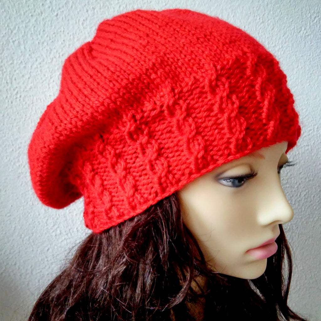 DINGLE Womans Handknit Red Woolen Slouch Hat with Cabled Brim/ Red Cabled Hat