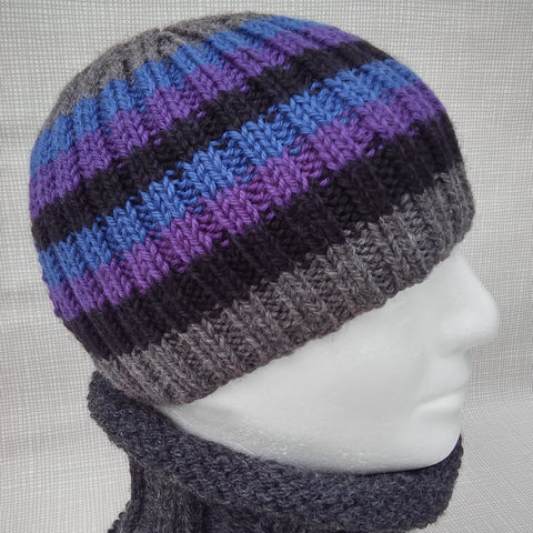 Mans Handknit Striped Cashmere Beanie in Blue, Black, Purple and Grey/ Mans Hat
