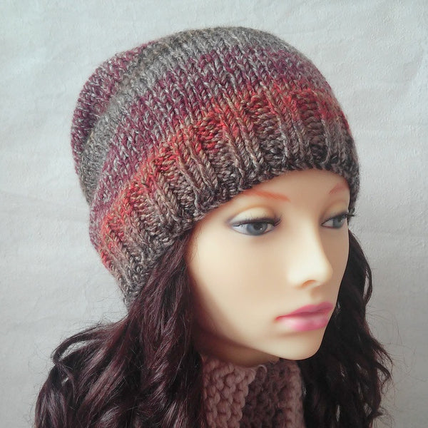 Handknit Slouchy Beanie in Autumn Colours Brown/Orange/Purple/Grey