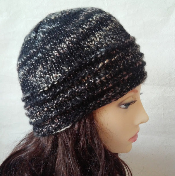 """BURREN"" Womans Hat Handknit Beanie in Black and Gold"