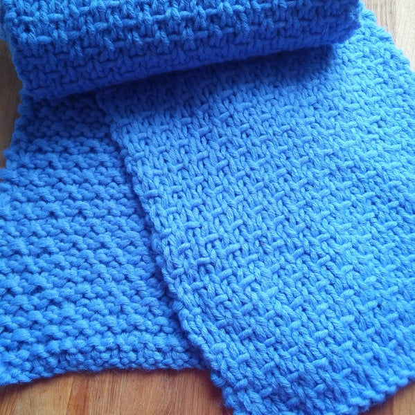 Long Handknit Scarf in Denim Blue Wool