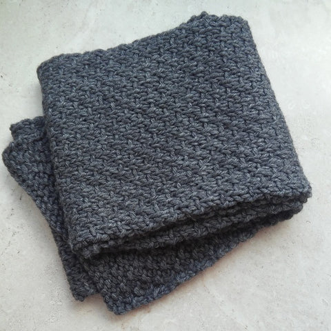 Mans Long Handknit Scarf in Slate Grey Wool