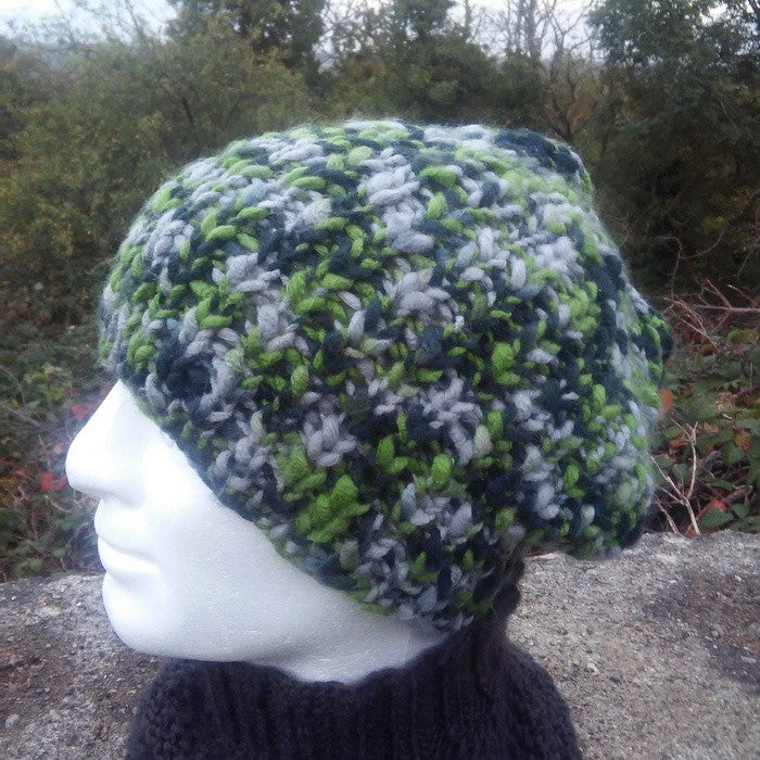 """MOSS"" Mans Hat Handknit Slouch Beanie in Green ad Grey/ Wool-Free yarn"
