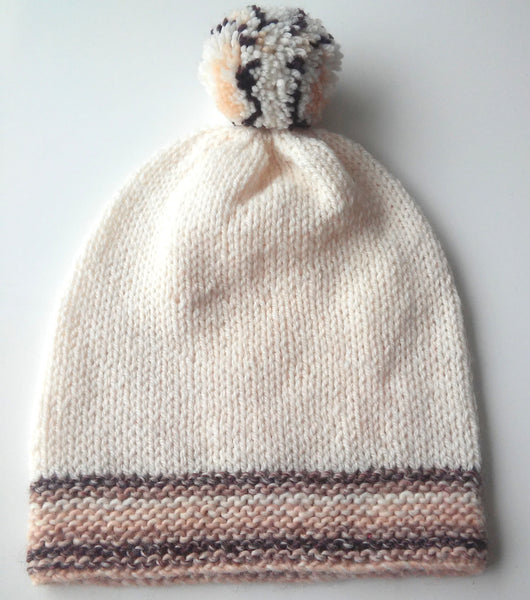 womans handknit cream and brown slouchy beanie