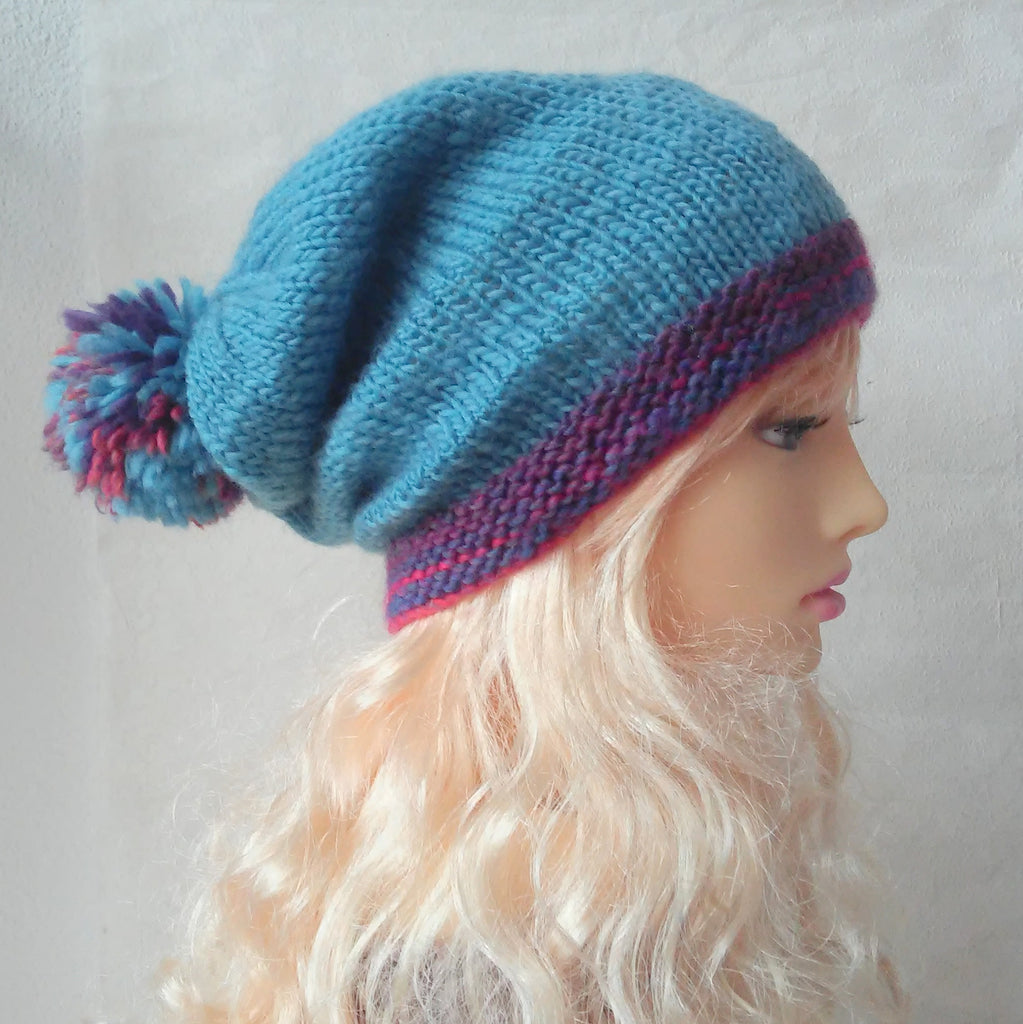 Womans Blue Knit Slouchy Beanie with Giant Pompom