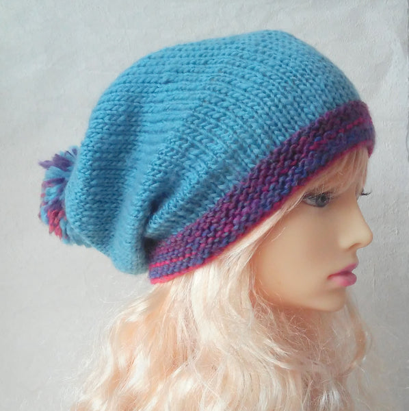 MARTA Womans Handknit Blue Slouchy Beanie with Giant Pompom and Striped Brim