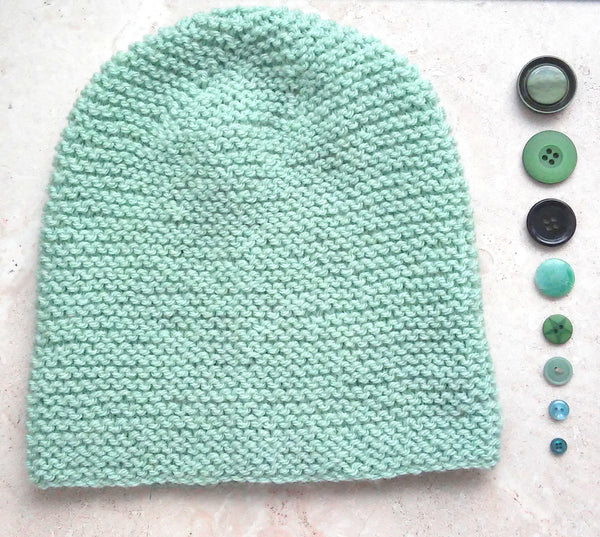 PORTLAND Handknit Slouchy Beanie in Mint Green for Women and Girls