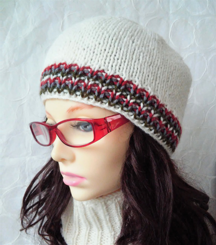 "KNITTING PATTERN for ""THORNHILL"" Simple Striped Beanie for Women, Men and Teens 50% OFF Special Introductory Price"