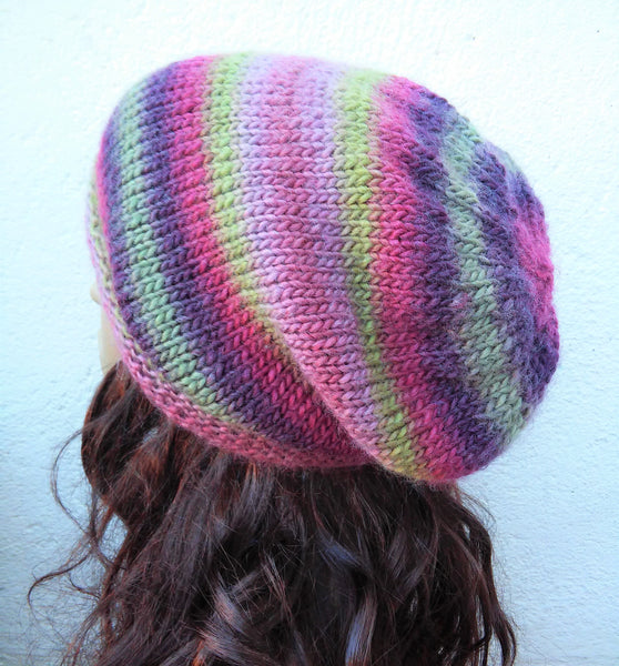 BOGLAND Handknit Reversible Slouchy Beanie in Purple and Green Wool for Women and Teens