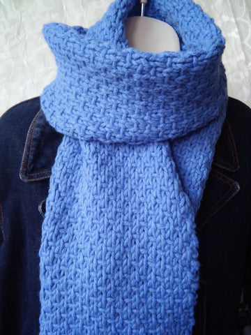 long mid blue woolen handknit woven stitch scarf for women, men, teens