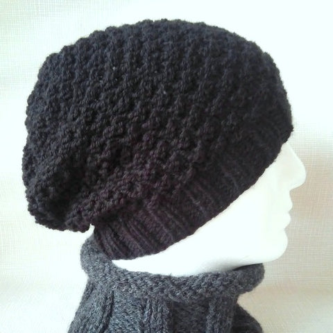 GARRYVOE Handknit Black Woolen Slouch Beanie for Women, Men and Teens