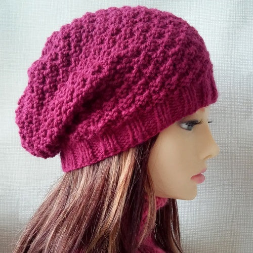 GARRYVOE Handknit Cream Woolen Slouch Pompom Beanie for Women and Teens