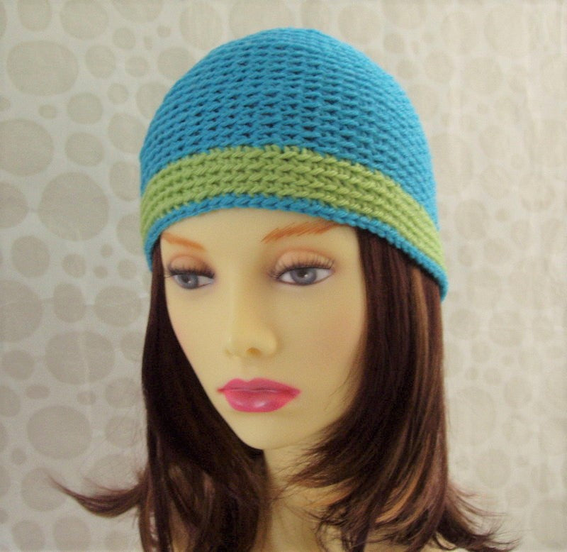 Womans Crochet Woolen Cloche Beanie in Aqua lue and Lime Green