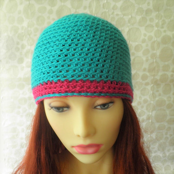 SARA  Handmade Crochet Cloche Hat in Aqua Blue and Raspberry Pink for Women and Girls