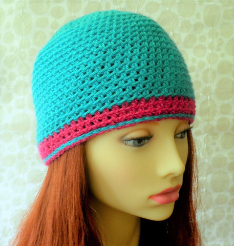 Womans Girls Blue and Pink Crochet Beanie