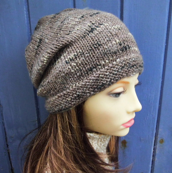 womans handknit brown tweed wool slouchy beanie