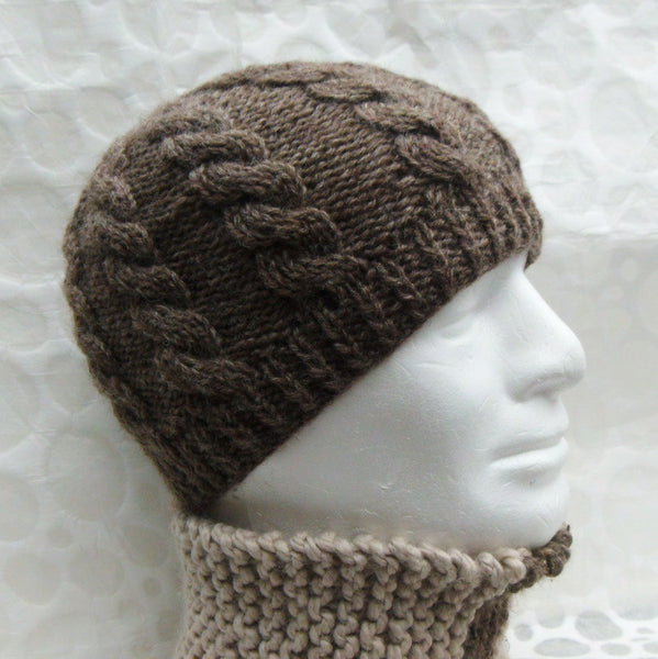"""INISHMOR"" Knitting Pattern for Cable Knit Beanie Hat"