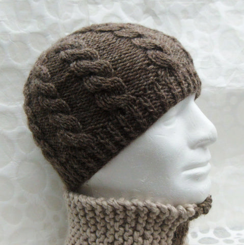 "Knitting Pattern for ""INISHMOR"" Cable Knit Beanie Hat Fishermans Style Cable KNit Woolen Hat"