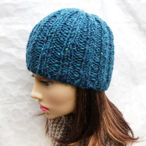 """RUSTICO"" Womans Chunky Knit Teal Blue Green Beanie"