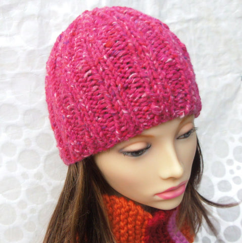 "Knitting Pattern for ""RUSTICO"" Chunky Knit Ribbed Beanie for Men, Women and Teens/Knit Round /EASY"
