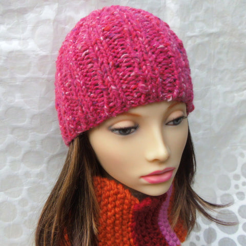 """RUSTICO"" Womans Chunky Knit Pink Beanie"