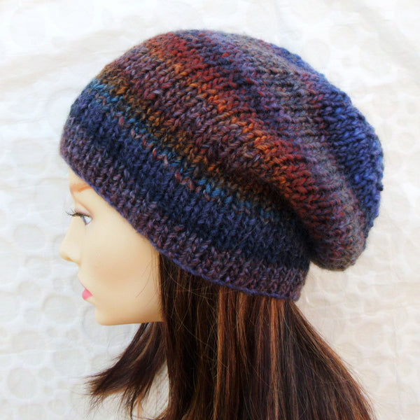 OTONO Womans Handknit Slouchy Beanie in Brown and Blue