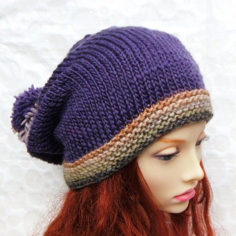 MARTA Womans Handknit Purple Slouchy Beanie with Giant Pompom