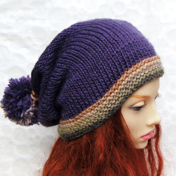 womans purple slouch beanie hat with pompom