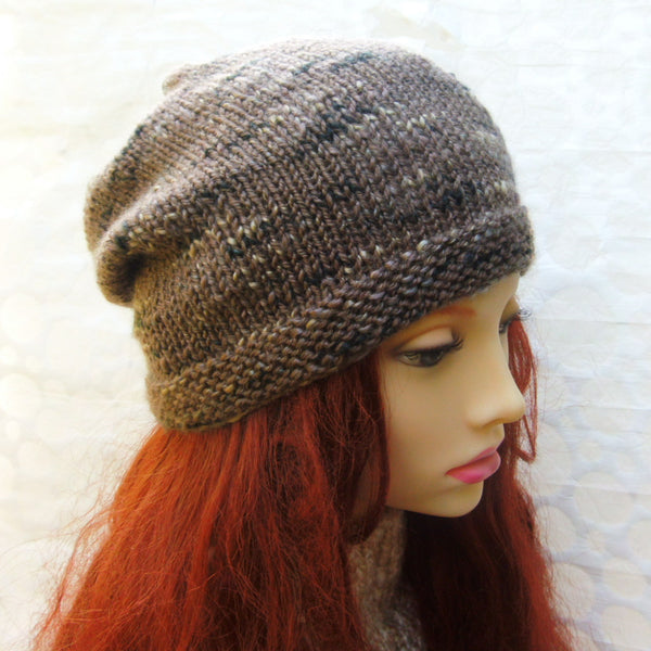 brown tweed wool slouch beanie for men and women