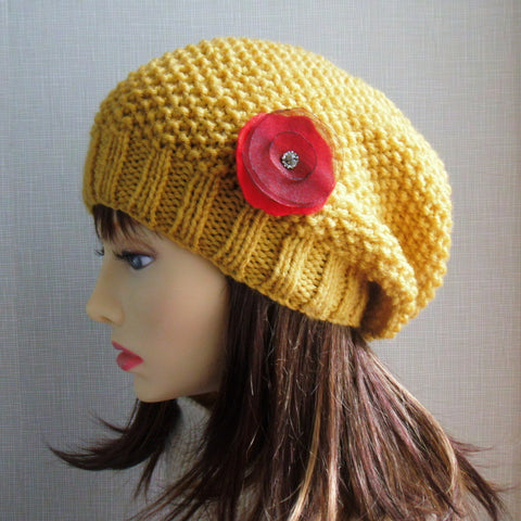 ROXANNE Womans Handknit Slouch Hat in Mustard Yellow Wool